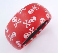 Chunky Red And White Skull Bangle.